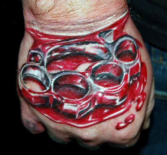 Silver Brass Knuckles With Red Blood Mens Hand Tattoo