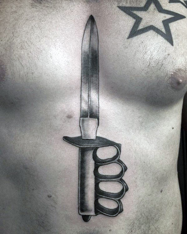 Brass Knuckles Sword Mens Chest Tattoos