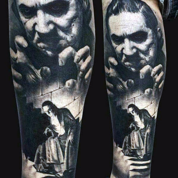 3D Realistische Dracula Castle Mens been mouw Tattoo
