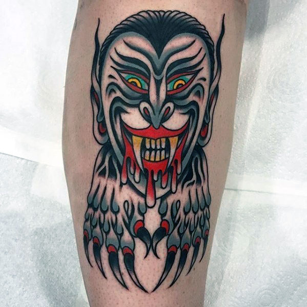 Old School Dracula Vampire Mens Leg Tattoos