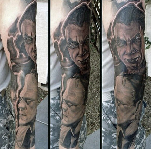 Verbazingwekkende Mens Full Arm Dracula Themed Sleeve Tattoo