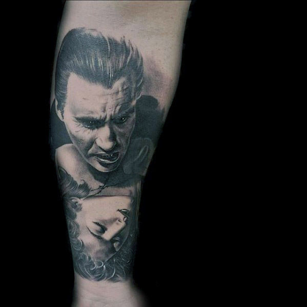 Shaded Dracula Vampire Heren Onderarm Mouw Tattoos Voor Heren