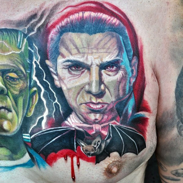 Geweldige Dracula Bat Mens Upper Chest Tattoo