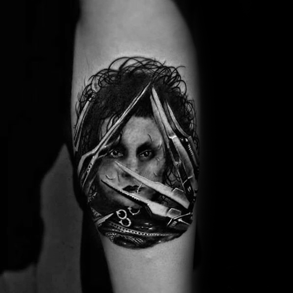 Tinta Incrível do antebraço interno Edward Scissorhands Tattoos For Men