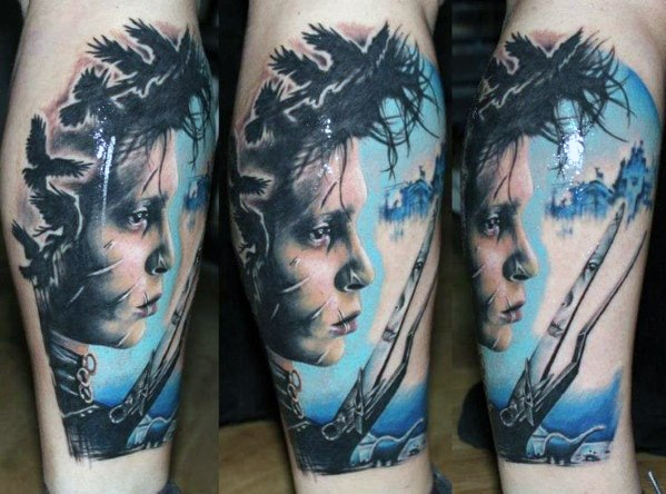 Mens Legal Leg Sleeve Edward Scissorhands Tatuagem Idéias