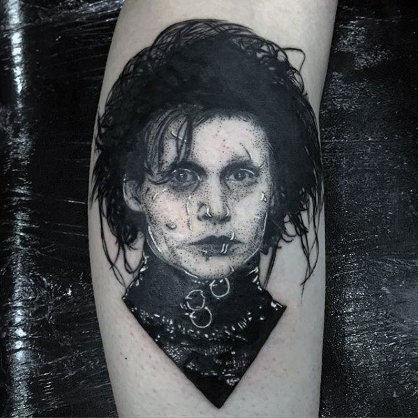 Mens Edward Scissorhands Retrato Leg Tattoo Ideas