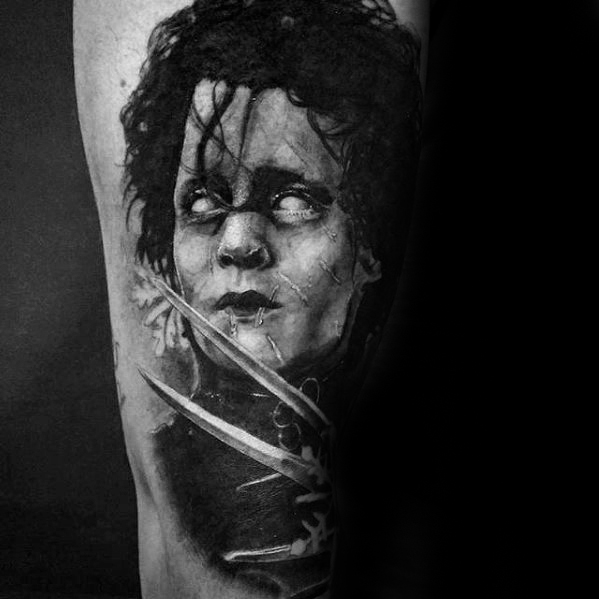 Perna Mens Edward Scissorhands Tattoo Design Ideas