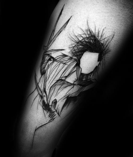 Braço esboçado abstrato Edward fresco Scissorhands Tattoo Design Ideas para o sexo masculino