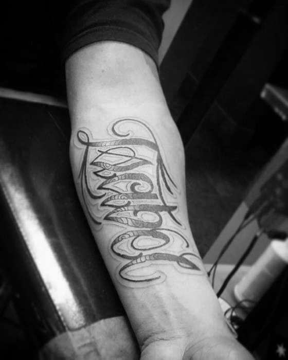 Manly Script Forearm Male Name Tattoo Ideas