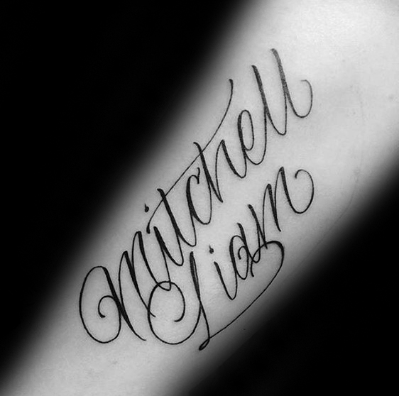 Mitchell Name Guys Forearm Tattoo