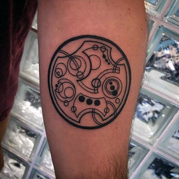 Small Mens Gallifreyan Inner Forearm Designs