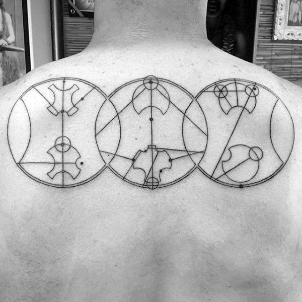 Three Circles Gallifreyan Guys Upper Back Tattoos