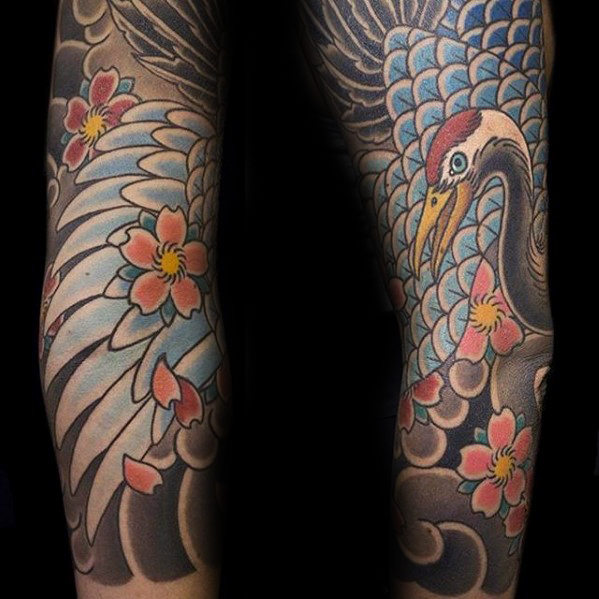 Japanese Crane Feathers Herre Arm Sleeve Tattoo Design Ideas