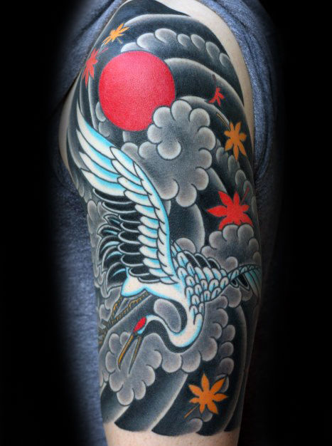 Japanske Guys Crane Bird Flying In Clouds Tattoo Half Sleeve
