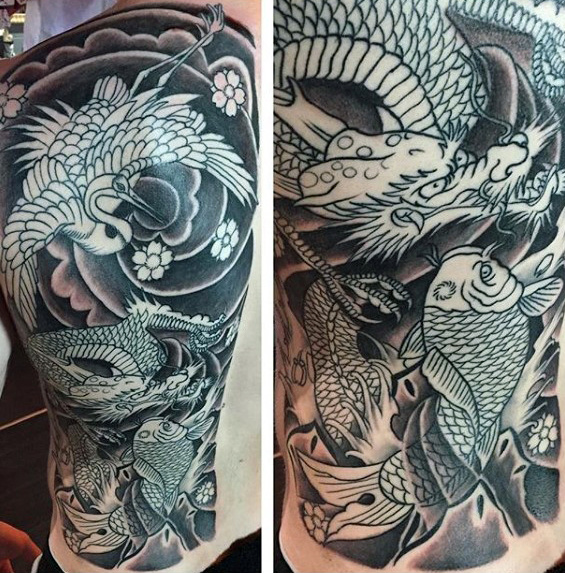 Maly japansk kran med drage- og koi-fisk full-back-tatoveringsdesign
