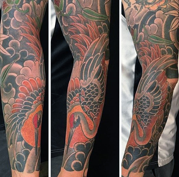 Maskulin Full Arm Sleeve Guys Japansk Crane Tattoo