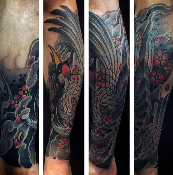 Guys Underarm Sleeve Japanese Crane Tattoo