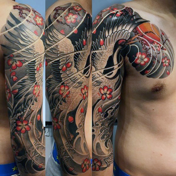 Half Sleve Japanese Crane Mens Tattoo Inspiration