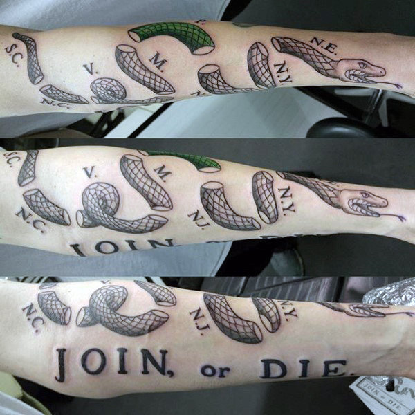 Guy With Forearm Tattoo Of Join Or Die Design