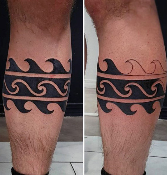 Awesome Mens Ocean Wave Bein Band Tattoo