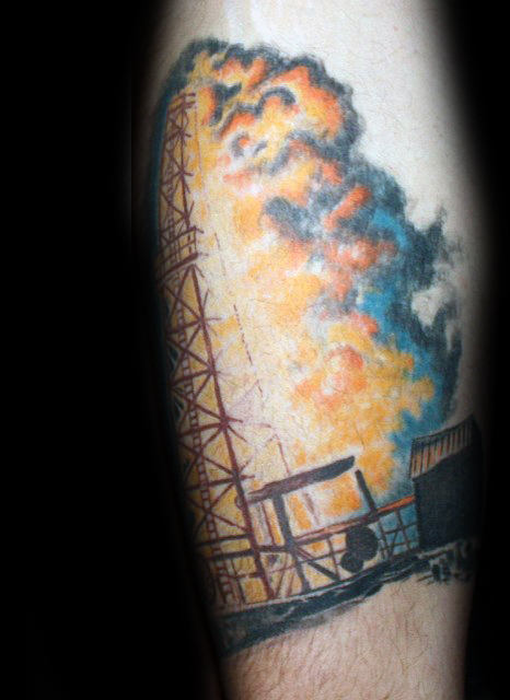 Flaming Oilfield Mens Well Arm Tattoo