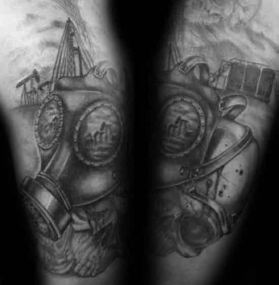 Gassmaske Herre Oljeplass Arm Tattoo Designs