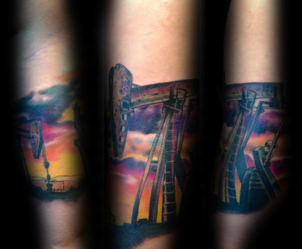 Oljefelt Sunset Male Underarm Quarter Sleeve Tattoo Ideas