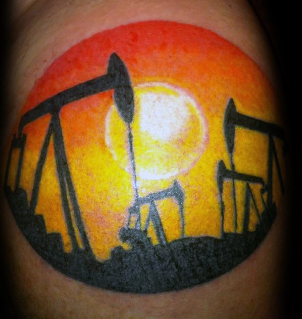 Orange Sun Mens Oilfield Pumpjack Tattoo On Arm