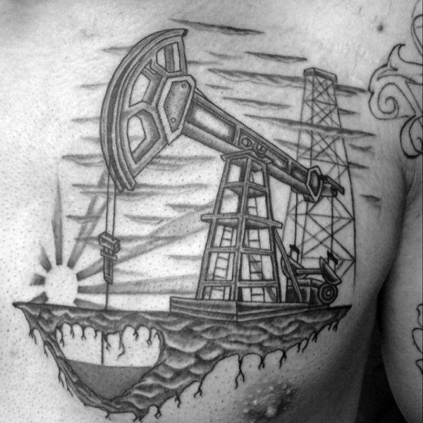 Pumpjack Guys Heart Oilfield Øvre Brysttattoo