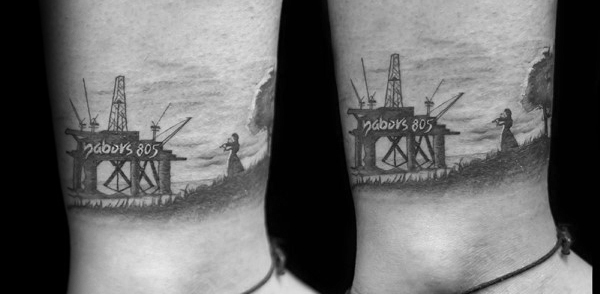 Sea Oilfield Mens Lower Leg Tattoo Designs