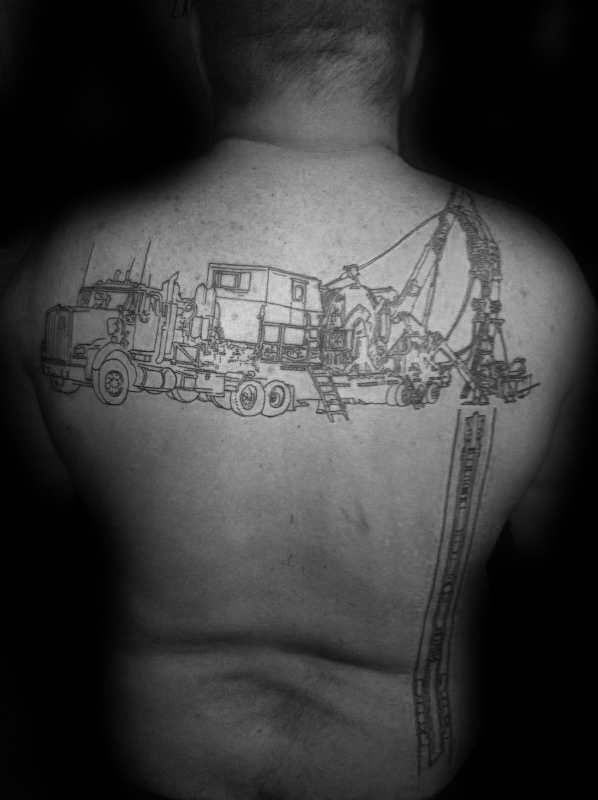 Black Ink Oultine Oilfield Well I Ground Mens Back Tattoo