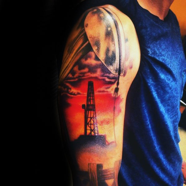 Clouds And Sunset Guys Oljefelt Themed Sleeve Tattoo