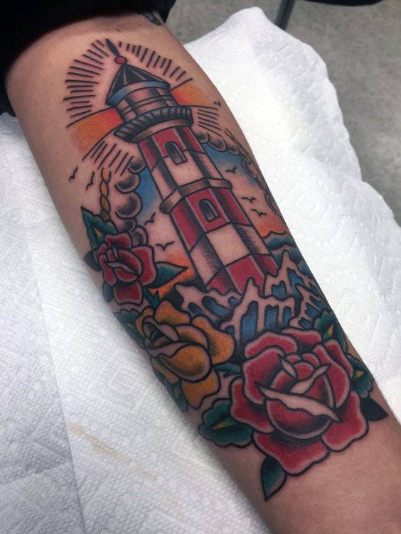Manly Inner Underarm Rose Flower With Lighthouse Male Traditional Tattoo Ideas