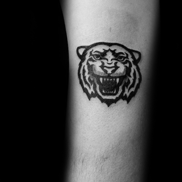 Gentleman With Tribal Tiger Head Small Tattoo