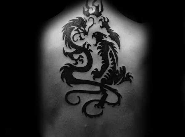 Mens Back Dragon e Tiger Tribal Tattoo Design Ideas