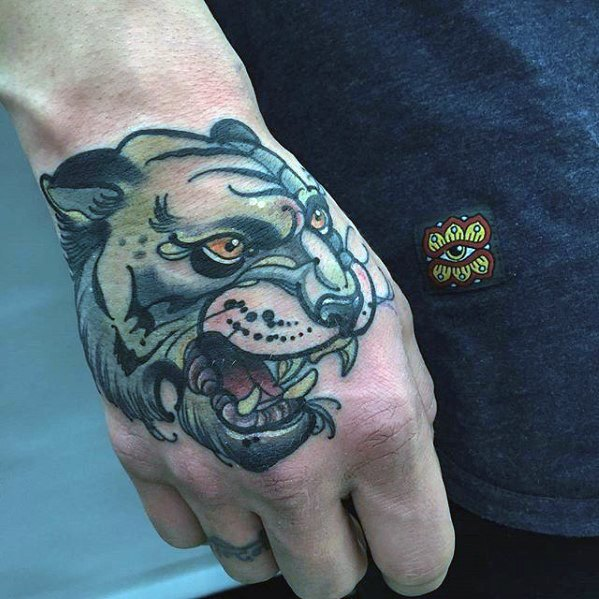 Tigre Unique Hand Mens Old School Tattoo Ideas