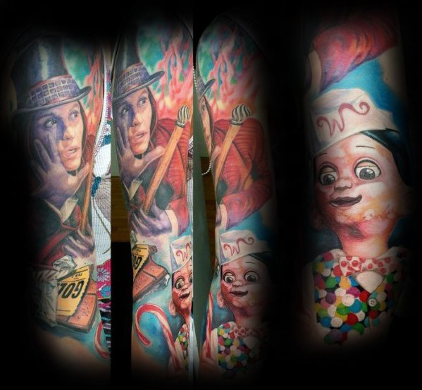 Man met cool Willy Wonka tattoo ontwerp