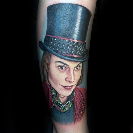Heren Tattoo met Willy Wonka Design