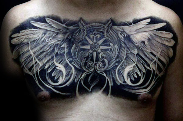 Kompass mit Flügeln Guys Masculien Chest Tattoo Designs