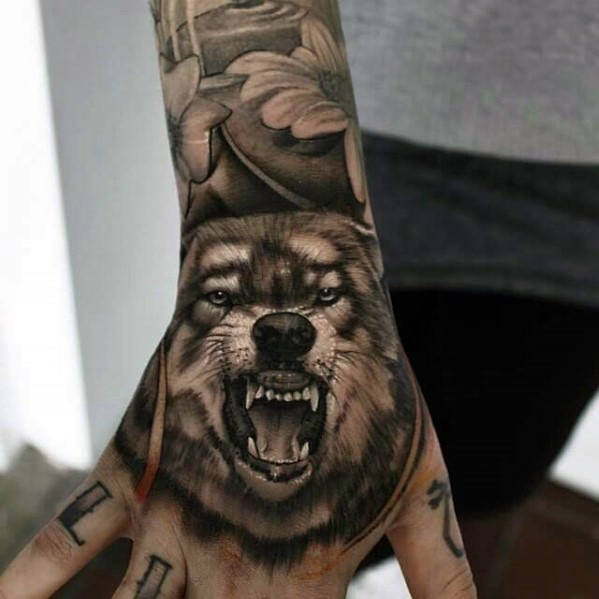 Mens tangan Angry Wolf 3d Tattoo