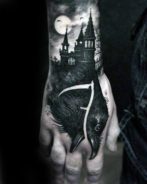 Black Crow With Castle Guys Badass Hand Tattoo
