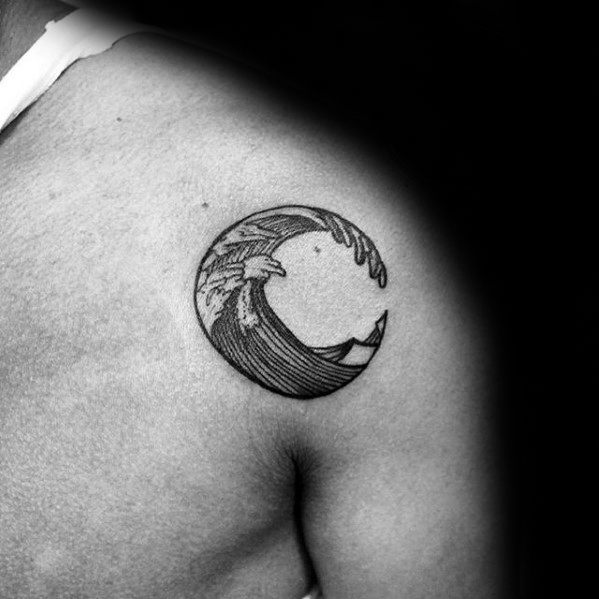 Schulter Badass Kleine Ocean Wave Male Tattoo Designs
