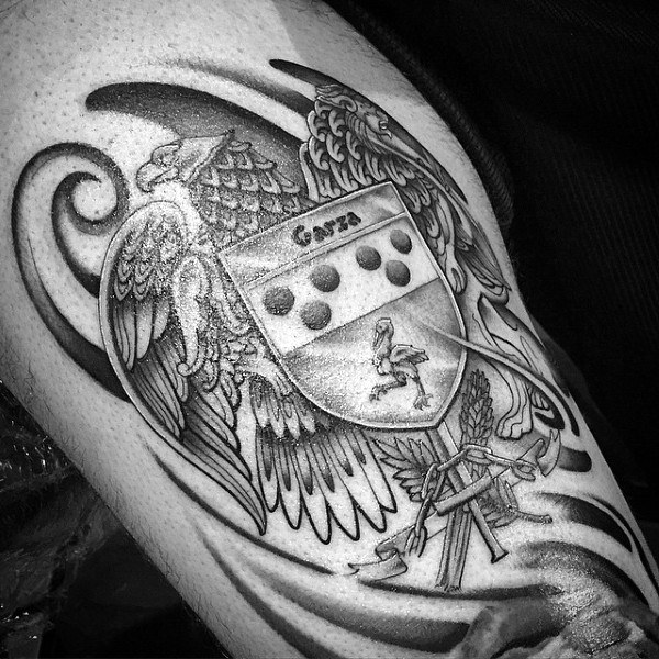 블랙 잉크 독수리 Mens Family Crest Tattoo Designs