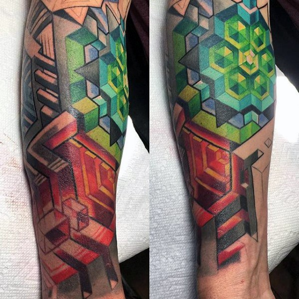 Guy With Colorful 3D Geometric Leg Tattoo Design