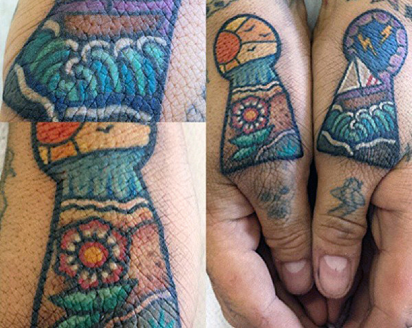 Mens Finger Keyhole Beach และ Sailboat Tattoo Designs