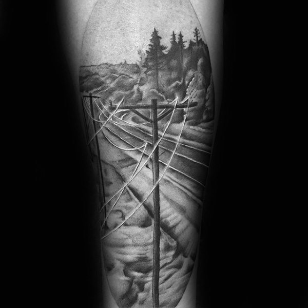 Electric Powerlines Masculin Lineman Sleeve Tattoo Design Idei