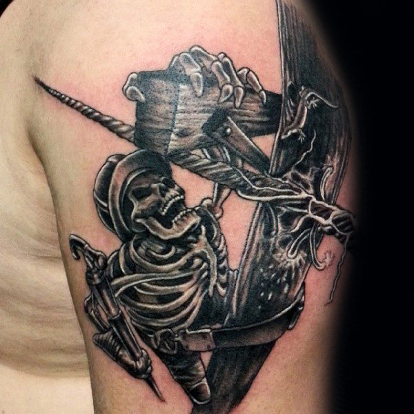 Awesome Lineman Skeleton Power Line Bărbați Upper Arm Tattos