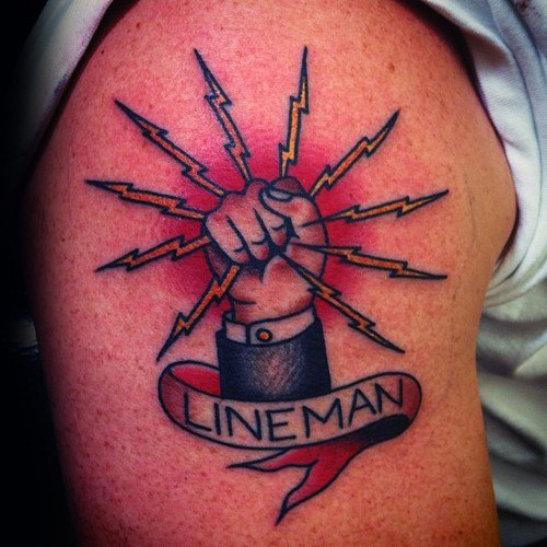 Mens Ibew cu Banner Lineman Upper Arm Tattoo