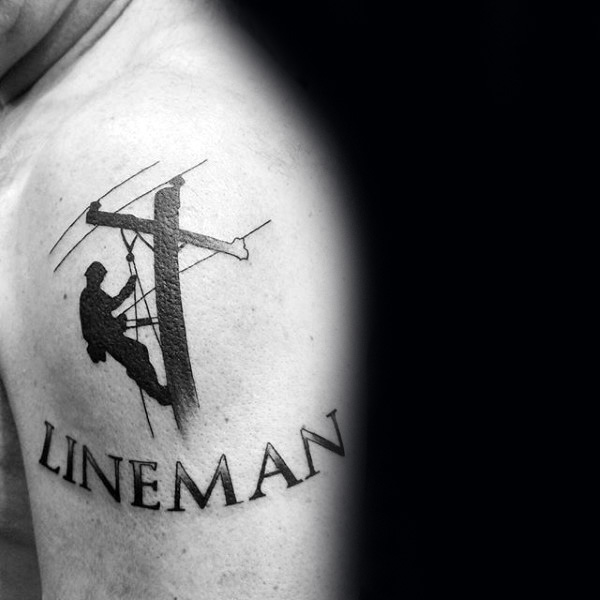 Black Ink Mens Lineman umăr tatuaj
