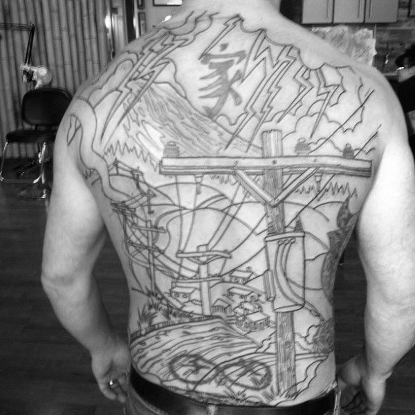 Cool Lineman tematice Mens Full Back Tattoo Idei de design